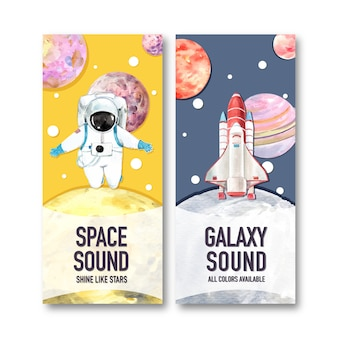 Galaxy banner z kosmonautą, planety, rakiety akwarela ilustracja.