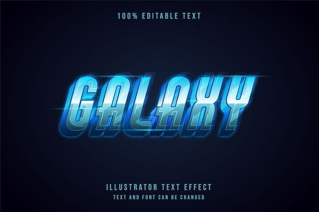 Galaxy, efekt edytowalnego tekstu 3d nowoczesny styl futurystyczny tekst gradacji niebieski