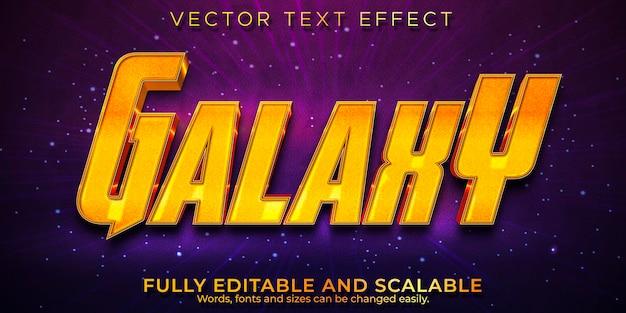 Galaxy kosmiczny efekt tekstowy, edytowalny złoty styl tekstu