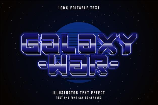 Galaxy war, edytowalny efekt tekstowy fioletowy gradacja stylu tekstu neonowego
