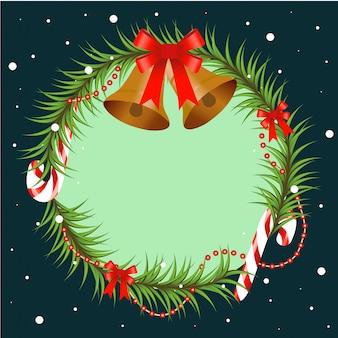 Gałąź choinki ozdobiona dzwoneczkami i czerwoną kokardką. okrągła rama z miejscem na kopię, element na boże narodzenie i nowy rok. ilustracja.