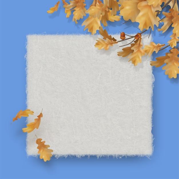 Gałąź dębu z liśćmi pusty arkusz papieru tekstury akwarela. jesień
