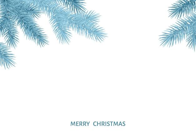 Gałąź jodły w szron na białym tle. świerk srebrny. realistyczna choinka. ilustracja wektorowa dla kartek świątecznych, banerów, ulotek, plakatów noworocznych.