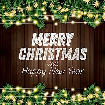 Gałąź jodły z neonami na drewniane tła. wesołych świąt i szczęśliwego nowego roku. ilustracja wektorowa.