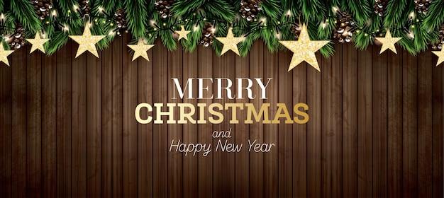 Gałąź jodły z neonami, szyszka i złote gwiazdy brokatu na drewniane tła. wesołych świąt. szczęśliwego nowego roku. ilustracja wektorowa.