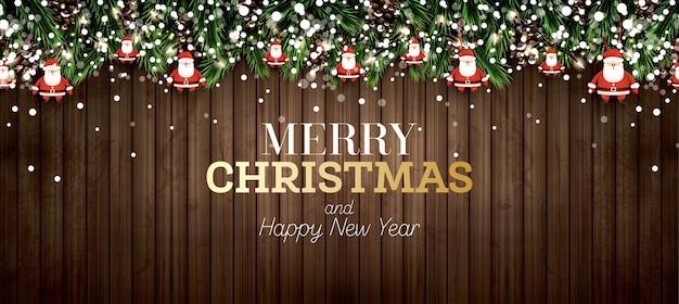 Gałąź jodły z neonów, szyszka, płatki śniegu i świętego mikołaja na drewniane tła. wesołych świąt. szczęśliwego nowego roku. ilustracja wektorowa.