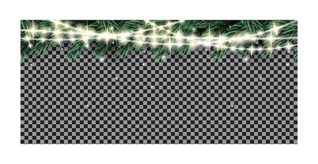 Gałąź jodły z neonowymi światłami garland na przezroczystym tle. ilustracja wektorowa.