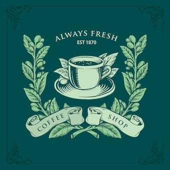 Gałąź kawy rysunek starodawny clipart na białym tle premium