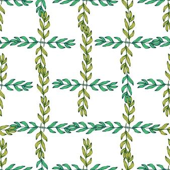 Gałąź lasu geometryczne z liści wzór na białym tle. tło liści. tapeta natura. do projektowania tkanin, drukowania tekstyliów, pakowania, okładek. ilustracja wektorowa.