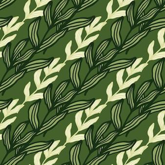 Gałąź lasu kreatywnych z liści wzór na zielonym tle. piękne tło liści. tapeta natura. do projektowania tkanin, drukowania tekstyliów, pakowania, okładek. ilustracja wektorowa.