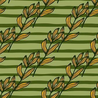 Gałąź lasu z liści wzór. tło wzór liści. tapeta retro natura. do projektowania tkanin, drukowania tekstyliów, pakowania, okładek. ilustracja wektorowa.