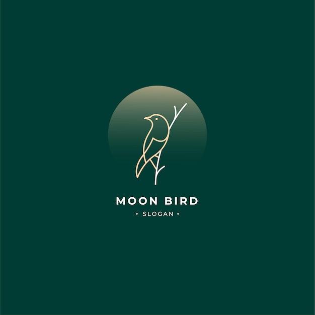 Gałąź logo ptaka kontur i księżyc w stylu vintage na białym tle.