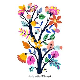 Gałąź na wiosenne kwiaty w płaskiej konstrukcji