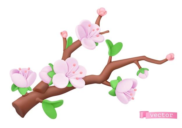 Gałąź wiśni z różowymi kwiatami w 3d