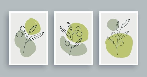 Gałązka oliwna botaniczna ściana malarstwo tło. sztuka liści i ręcznie narysowana linia o abstrakcyjnym kształcie. skandynawski styl skandynawski z połowy wieku.