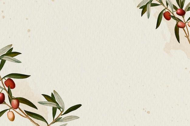 Gałązka oliwna wzór na beżowym tle szablonu wektor