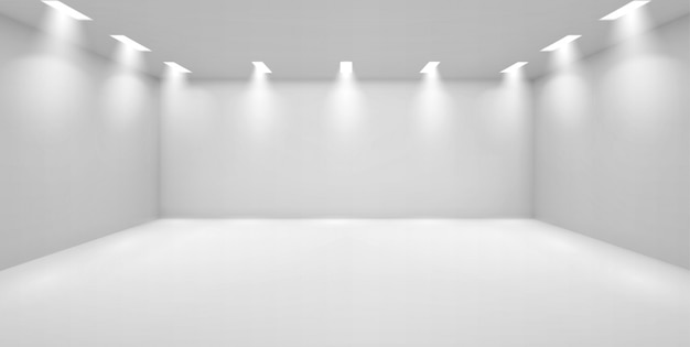 Galeria sztuki pusty pokój z białymi ścianami i lampami