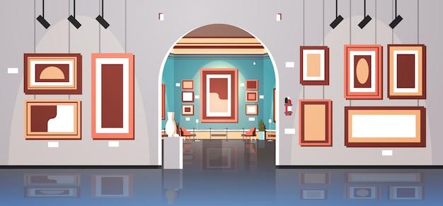 Galeria sztuki współczesnej w muzeum wnętrze kreatywne malarstwo współczesne dzieła sztuki lub eksponaty płaskie poziome