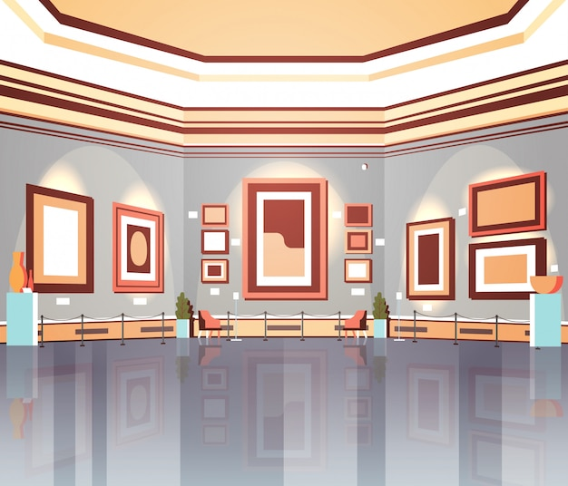 Galeria sztuki współczesnej w muzeum wnętrze kreatywne malarstwo współczesne dzieła sztuki lub eksponaty płaskie