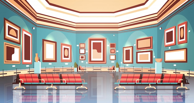 Galeria sztuki współczesnej w muzeum wnętrze kreatywne malarstwo współczesne dzieła sztuki lub wystawy