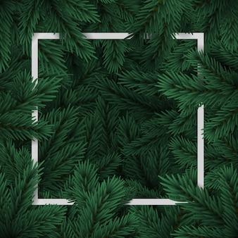 Gałęzie choinkowe. szczęśliwego nowego roku na wakacje. rama choinki. baner, post