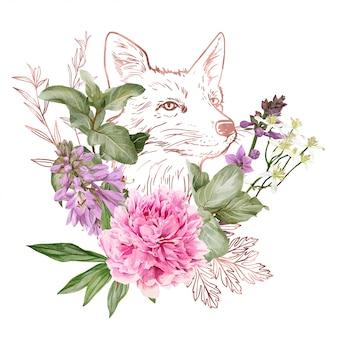 Gałęzie, elementy kwiatowe w kolorze różowego złota i głowa lisa