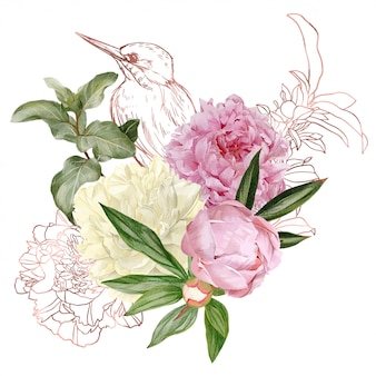 Gałęzie, elementy kwiatowe z różowego złota i ptak