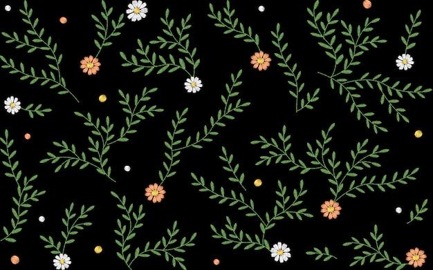 Gałęzie liście gałązki trawa wzór ziół.