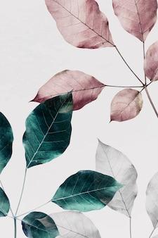Gałęzie różowych liści z zielonymi i srebrnymi liśćmi w tle