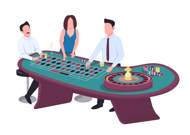 Gambler płaski kolor wektor znaków bez twarzy. mężczyzna postawił na czerwony. kobieta stawka na czarno. mężczyzna hazardzista z frytkami. ludzie grają w hazard przy stole do ruletki. kasyno na białym tle ilustracja kreskówka