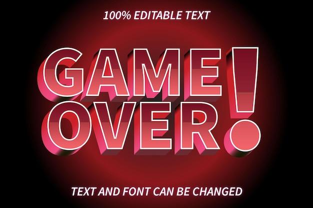 Game over edytowalny efekt tekstowy w stylu retro