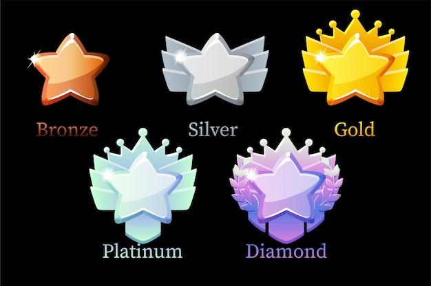 Game rank reward gwiazda, złoto, srebro, platyna, brąz, diamentowe ikony 6 kroków animacji