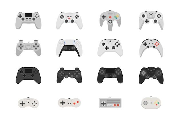 Gamepady do grania w gry wideo. zestaw sterowników różnych generacji. kolekcja.