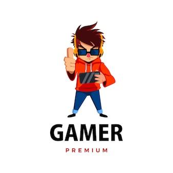 Gamer bije w górę ikona logo maskotki postaci