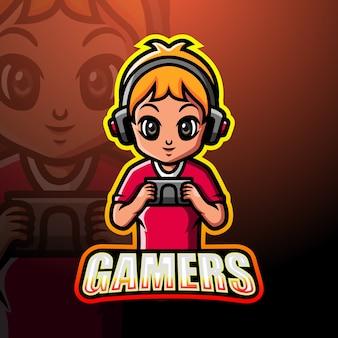 Gamer boy maskotka esport ilustracja