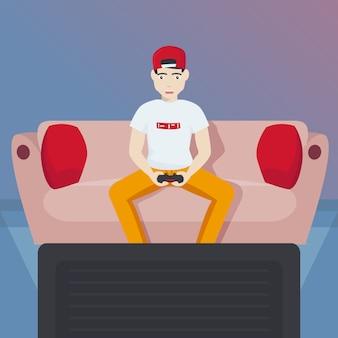 Gamer chłopiec bawić się wideo gier wektoru ilustrację.