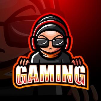 Gamer chłopiec maskotki esport logo ilustracja