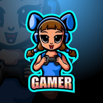 Gamer dziewczyna maskotka esport ilustracja