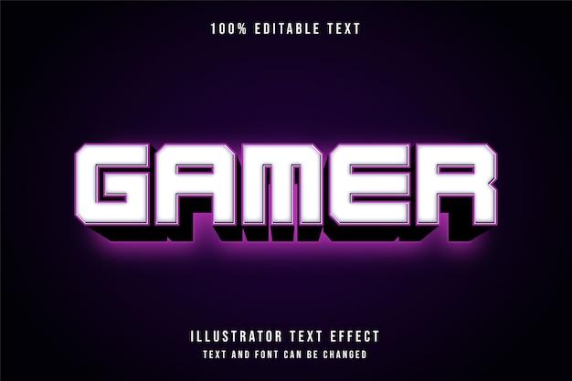 Gamer, edytowalny efekt tekstowy 3d nowoczesny styl różowy neon