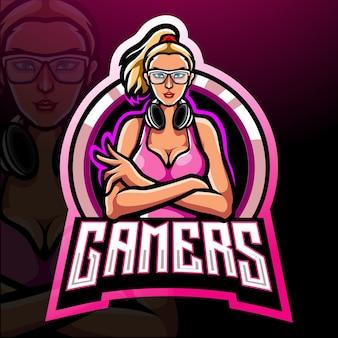 Gamer girl esport logo maskotka logo