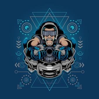 Gamer maskotka esport ilustracja świętej geometrii