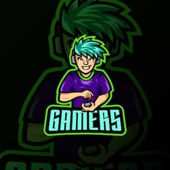 Gamer maskotka logo esport hazard ilustracja