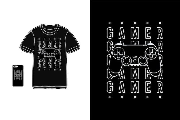 Gamer, t-shirt merchandise siluet makieta typografia