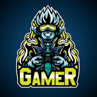 Gamer w stylu cyberpunkowym