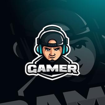 Gamer youtuber avatar gier ze słuchawkami na logo e-sportu