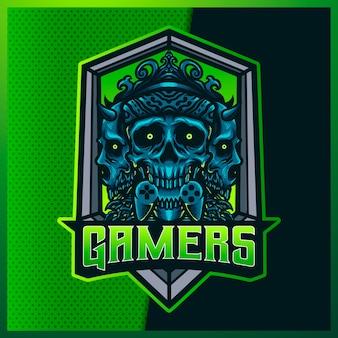Gamers skull e sport i logo maskotki sportowej