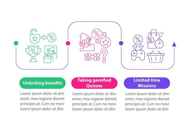 Gamifikowane programy lojalnościowe przykłady wektor infografikę szablon. elementy projektu zarys prezentacji. wizualizacja danych w 3 krokach. wykres informacyjny osi czasu procesu. układ przepływu pracy z ikonami linii