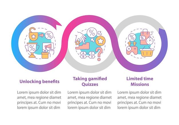 Gamifikowane programy nagród, przykłady wektorowego szablonu infografiki