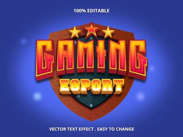Gaming edytowalny tekst efekt na białym tle na niebiesko