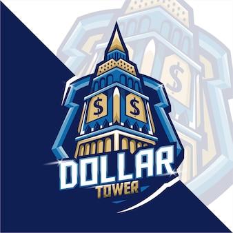 Gaming maskotka logo dolara wieża